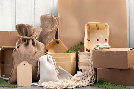 Various Eco friendly packaging made from natural recyclable materials. Environmental protection and waste reduction concept