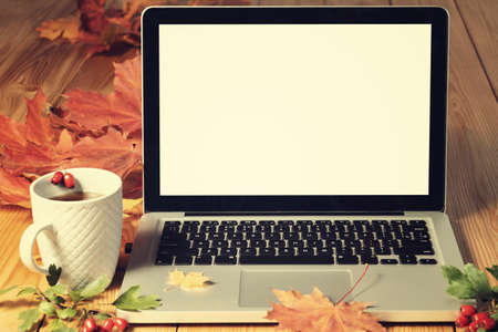Open laptop with blank screen on wooden table with autumn leaves and mug