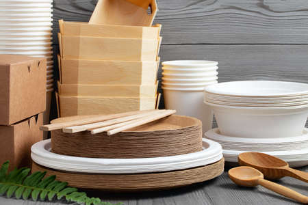 Various Eco friendly tableware made from natural, recyclable materials. Environmental protection and waste reduction concept