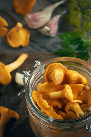 Preserving chanterelle mushrooms in a jar with spices and herbs. Pickling wild edible mushrooms. Vertical image 免版税图像