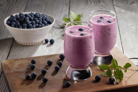 Homemade blueberry yogurt smoothie. Protein shake with berries
