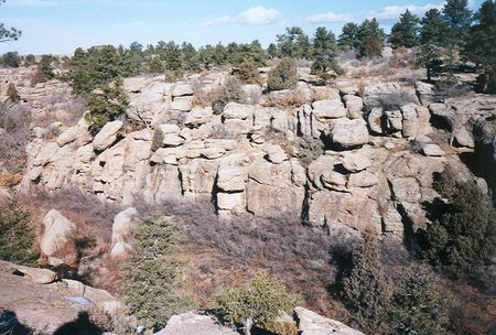 Overlooking the canyon at Castlewood Canyon State Park near Franktown, Colorado during the season of winter Stock Photo