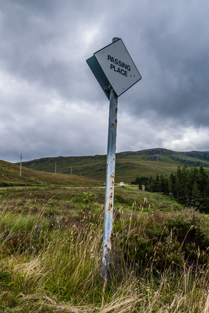 Passing place road signal in Scotland for overtaking