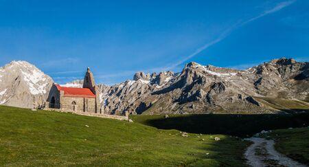 Hermitage in Picos de Europa mountains, Asturias Stock Photo