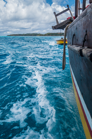 Blue water in Nosy Iranja from a wooden sailboat, Madagascar