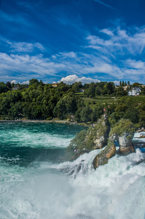 Rhine Falls water flow and rocks Stock Photo - 80938654