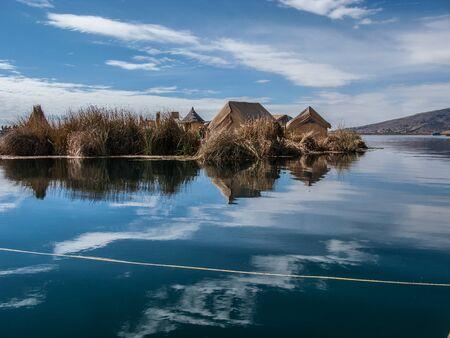 navigable: Uros floating island in Lake Titicaca, Peru