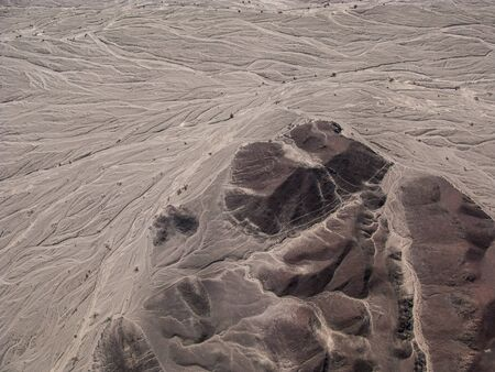 archeological: Nazca lines and desert view from small plane, Peru