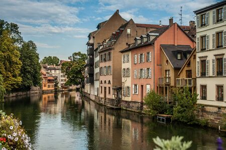 Typical street near a channel in Strasbourg, France Stock Photo