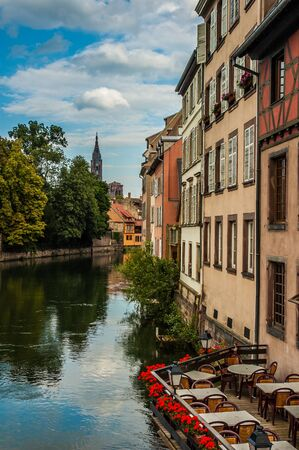 Typical bar terrace near a channel in Strasbourg, France