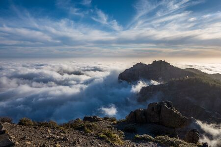 Gran Canaria mountain with clouds, Canary Islands Stock Photo