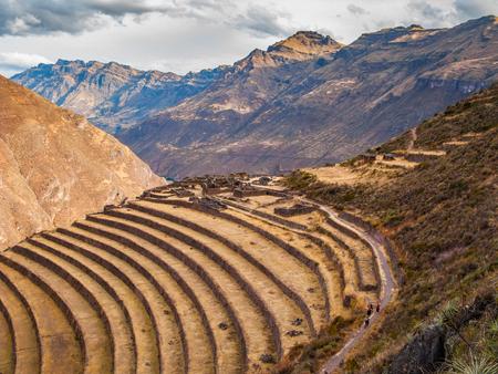 Pisac Ruins in de buurt van Pisac Sacred Valley, Peru Stockfoto