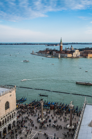 Carnival in Venice from top of San Marcos, Italy
