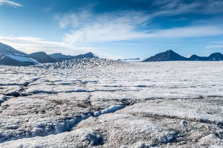 View from top surface of a Glacier, Svalbard Stock Photo