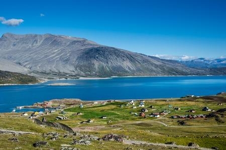 여름 이글 리쿠 (Igaliku) 작은 마을 그린란드