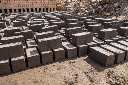 suburbs: Clay bricks factory in Antananarivo suburbs, Madagascar