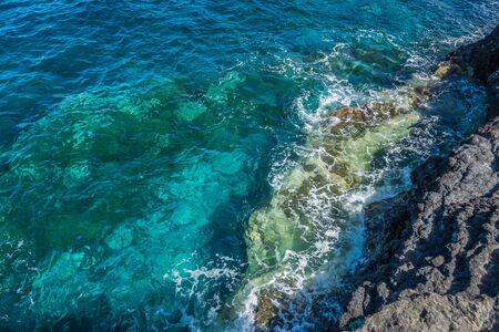 Breakwater in the rocks in La Palma, Canary Islands Stock Photo