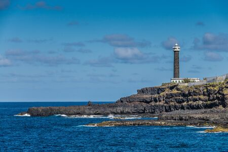 shorelines: Lighthouse in La Palma sea coast, Canary Islands Stock Photo