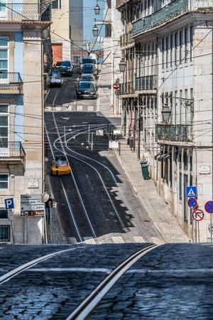 Tram railway in the hills of Lisbon, Portugal
