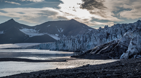 Front of glacier at dusk in Svalbard, Norway