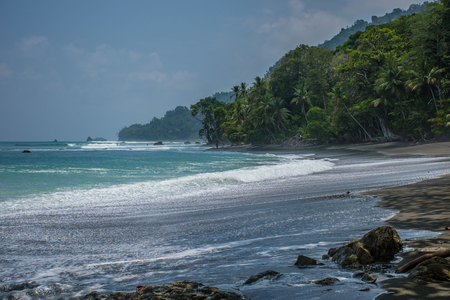 Beach trail path to Sirena Station on Corcovado national park, Costa Rica 写真素材