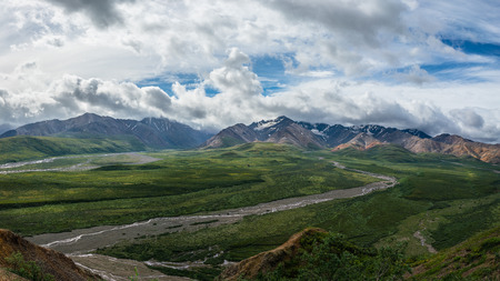 Denali national park mountains panoramic view, Alaska Stock Photo