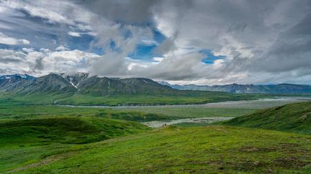 Trekking paths in Denali national park mountains, Alaska