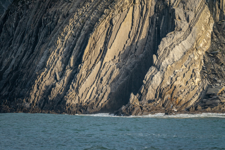 Detail of the coast cliffs and strata layers in Bizkaia, Basque Country