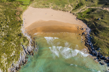 Sonabia beach in Cantabrian sea, Spain - drone aerial Stock Photo