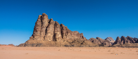 Rocks and sand in Wadi Rum desert, Jordan - 21:9 panoramic