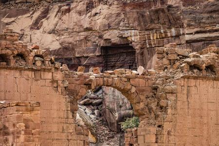 Arc stone detail near the Great Temple in Petra, Jordan