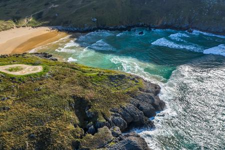 Sonabia beach in Cantabrian sea, Spain - drone aerial Reklamní fotografie