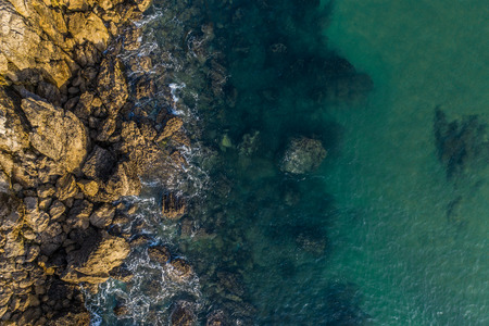 Sea waves breaking in the reefs and coast of Sonabia, Spain, Cantabrian sea - drone aerial view Reklamní fotografie