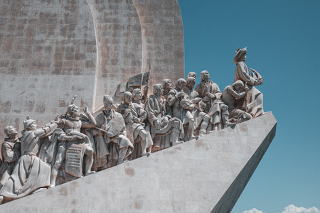 Detail of Monument of the Discoveries in Lisbon, Portugal Stock Photo