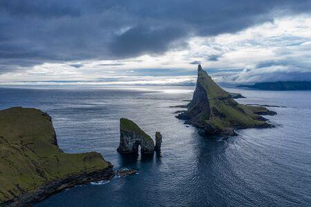 Drangarnir, Tindholmur and Mykines islands drone aereal view from Vagar, Faroe Islands Reklamní fotografie
