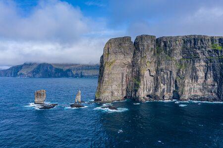 Risin og Kellingin, The Giant and the Witch, sea stacks rocks near Eidi, Faroe Islands Reklamní fotografie