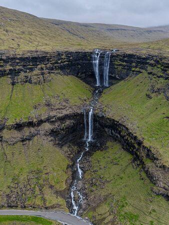 Aerial view of Fossa double-tiered waterfall, Faroe Islands Reklamní fotografie