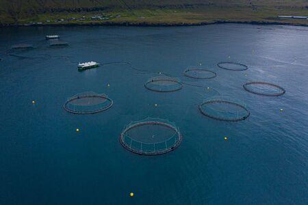 Fish farm aquaculture aerial view, Faroe Islands