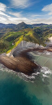 Zumaia flysch geological strata layers drone aerial view, Basque Country Фото со стока