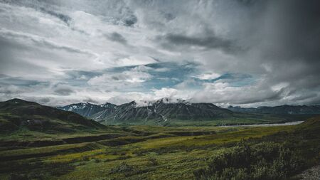 Denali national park mountains panoramic view, Alaska Standard-Bild