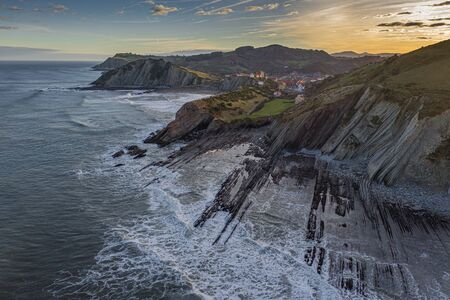 Zumaia city and seashore flysch aerial view, Basque Country Standard-Bild