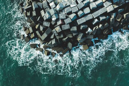 Concrete block cubes seawall and breakwater in Deba, Basque Country Standard-Bild