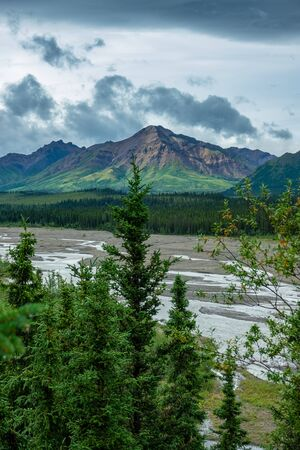 Denali national park mountains panoramic view, Alaska