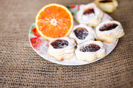 Homemade cookies on the table in a plate for a delicious, nutritious breakfast Stock Photo