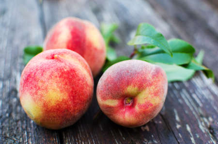 The big fruit reached a peach grows on a branch in the open air in the summer
