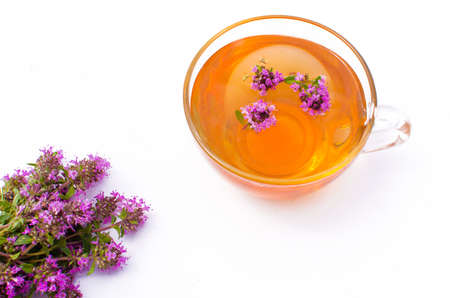 Thyme is a genus of shrubs and semi-shrubs of the labiate family. Homeland are temperate regions of Greenland, Europe, North Africa, Asia Imagens