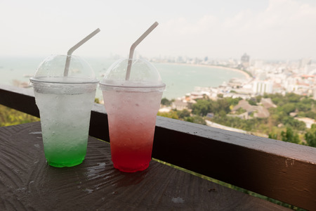 ade: Ice strawberry ade and green apple ade is the perfect refreshing summer drink to cool down on a warm day. Its so quick and easy to make. seeing the view of Pattayas beach, Thailand. How nice it is!