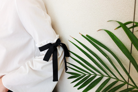 white sleeve: long white sleeve with black string bow tie style details. Close up trendy fashion and green leaf.