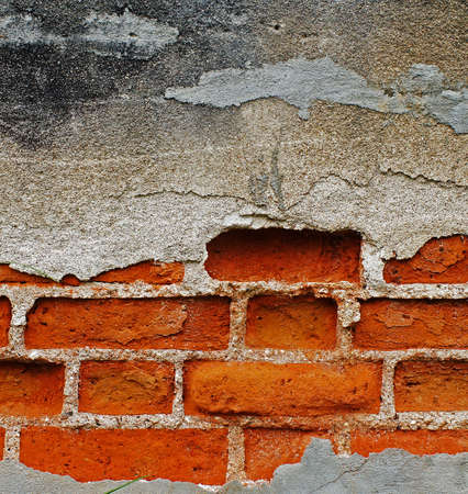 Plaster background with brick wall framing                     photo