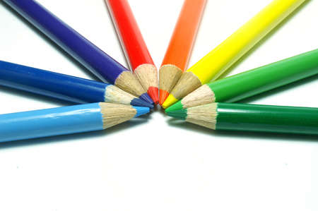 Coloring crayon pencils isolated on white background photo